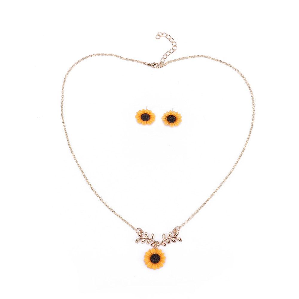 1 Set Woman Creative Jewelry Accessories Link Chain Helianthus Leaf Necklace Sunflower Stud Earrings Jewelry Set