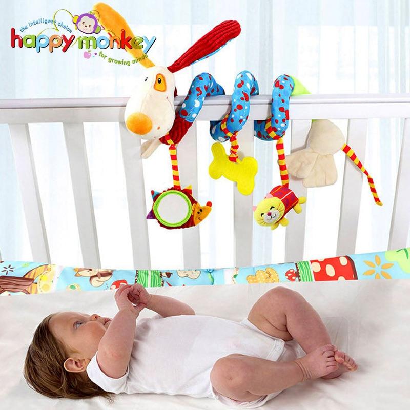 Happy Monkey Cartoon Animals Veikla Spiralinis Baby Stroller Automobilių sėdynės ornamentas Crib Hangings Žaislas Infant Toys Play Mat aksesuaras