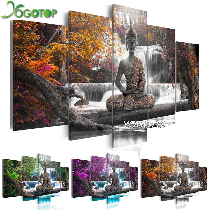 YOGOTOP DIY Diamond Painting Cross Stitch Kits Full Diamond Embroidery 5D Diamond Mosaic Home Decor Buddha waterfall 5pcs ML253