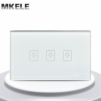 Touch Switch White Crystal Glass Panel US Standard 3 Gang 2 Way Touch Screen Wall Switch