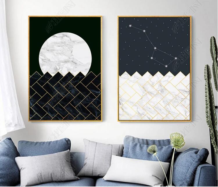 Czarny I Biały Geometria ścienne Plakaty Dekoracyjne Obraz
