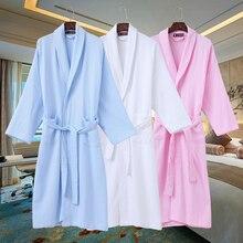 Хлопок вафельные халаты женские пижамы роковой невесты Халаты sexysatin халат кимоно супер мягкие халат летний
