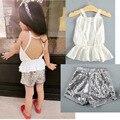 Европейские и американские стили рюшами жилет + блестками спинки 2 шт. комплект одежды девушка возглавляет летнюю одежду для детей 2-6a