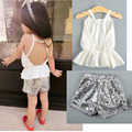 European and American styles ruffle vest + short sequined backless 2 pcs clothing set girl tops summer clothes for children 2-6a