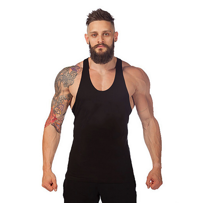 New Running Vest Men Fitness Sleeveless Undershirt Bodybuilding Stringer Tank Top Gym Training Clothing Y Back Sport T Shirt Men