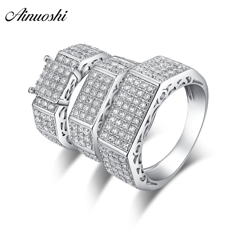 AINUOSHI 925 Sterling Silver Couple Wedding Engagement Rings Sets Women Men Anniversary Lover Promise Ring Sets Gift Accessaries men wedding band cz rings jewelry silver color anillos bague aneis ringen promise couple engagement rings for women