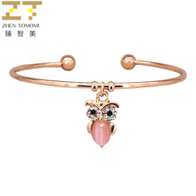 2018 New Fashion Arrival Ladies Temperament Lovely Crystal Owl Open Adjustable Size Charm Cuff Bracelets Bangles Women Jewelry(China)