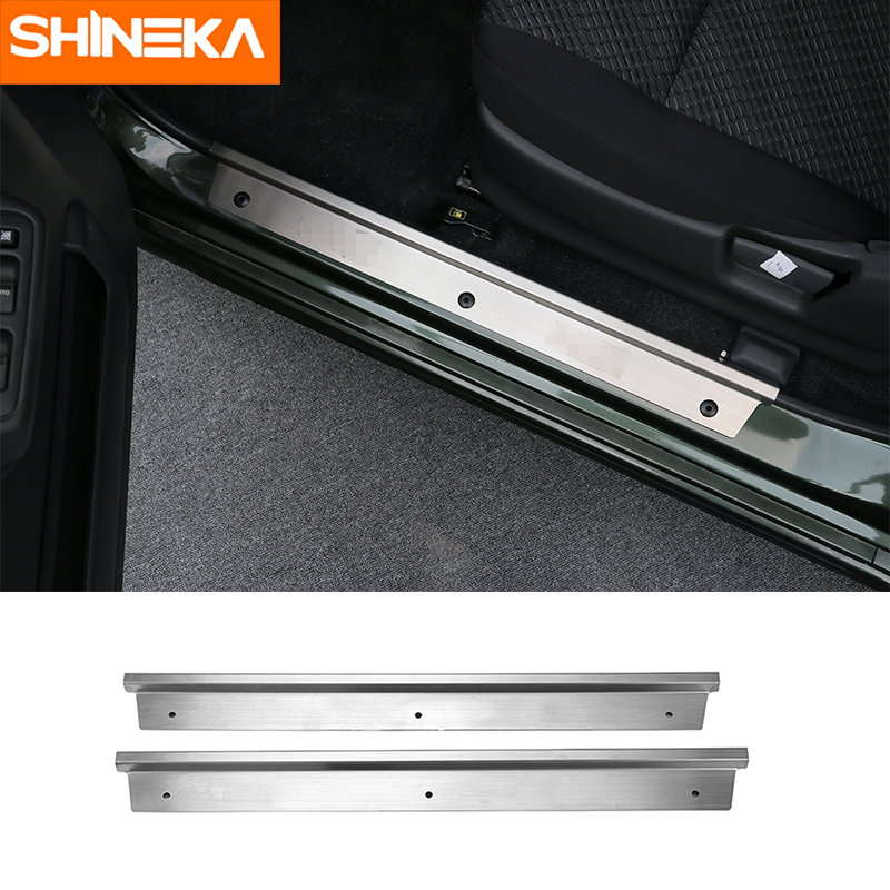 SHINEKA Stainless Steel Door Sill Scuff Inside Plate Guard Cover Trim Strip Sticker for Suzuki Jimny