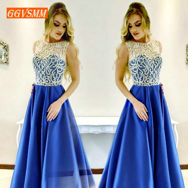 Luxury Royal Blue Lady Long Dress Evening 2019 Elegant Formal Dresses Party Women Scoop Satin Lace A-Line Sexy Evening Gown New