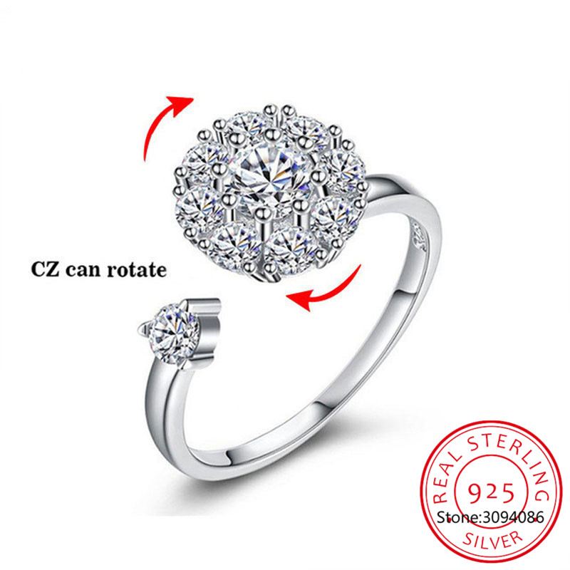 Rotate Rings 925 Sterling Silver Ring For Women Fashion Rotatable CZ Crystal Open Knuckle Toe Rings Wedding Jewellry