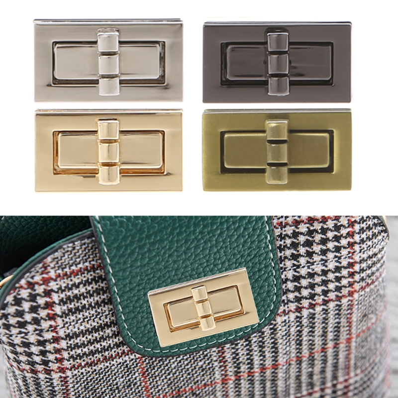 THINKTHENDO Rectangle Shape Clasp Turn Lock Twist Locks DIY Leather Handbag Bag Hardware Metal Elegant New Bag Accessories