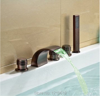 Newly US Free Shipping Deck Mount LED Light Waterfall Widespread Bathtub Faucet Arc Spout W/ Hand Shower Oil rubbed Bronze Red