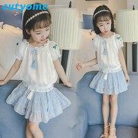 Cutyome Teenage Girls Skirt Set 2018 Toddler Kids Chiffon T Shirts+Fashion Tutu Skirt Little Children Clothes Set 10 12 14 Years