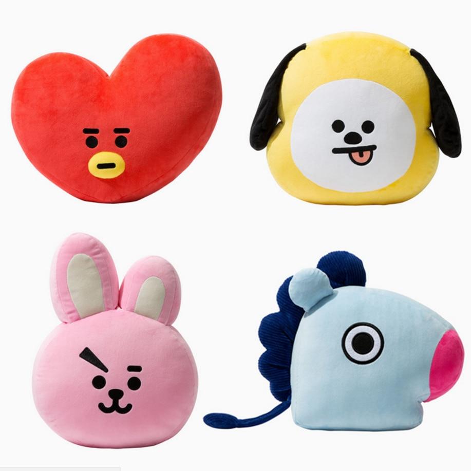 Cute Cartoon BTS BT21 Plush Doll Toy Ragazzi Bangtan Ragazzi Cuscino Cuscino di Tiro Cuscino di Tiro Perfetto per Divano Home Decor, 11.8 ''x15. 7