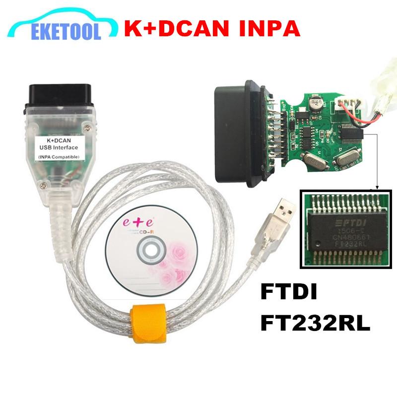 Prix pour Super Qualité FT232RL Puce Meilleur Plein Puce PCB Pour BMW INPA K DCAN K + CAN USB Interface De Diagnostic INPA Compatible Pour BMW Série