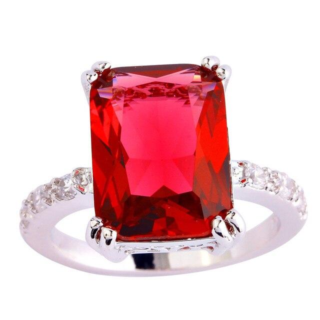 Lingmei criado gemas prateado tamanho do anel 6 7 8 9 10 11 cristal jóia das mulheres por atacado