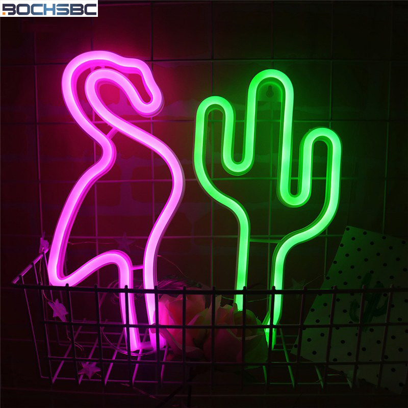 BOCHSBC Green Cactus Pink Flamingo Red Lips Neon Night Lights Lovely Operated Wall Hanging Light for Garden Bedroom Decor Lamps