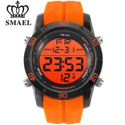 SMAEL Элитный бренд для мужчин s спортивные часы погружения 50 м светодио дный цифровой светодиодный Военная Униформа часы для мужчин модные