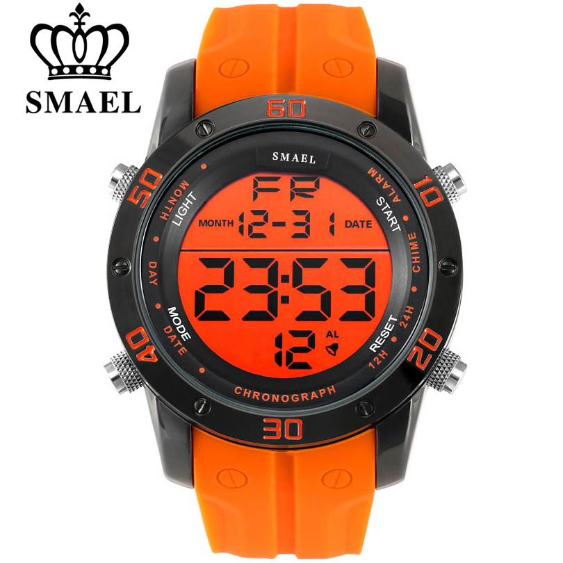 SMAEL Luxury Brand Mens Sports Watches Dive 50m Digital LED Military Watch Men Fashion Casual Electronics Wristwatches Hot Clock