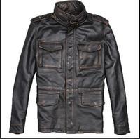 DHL Бесплатная доставка. Большие размеры классические мужские M65 куртки из коровьей кожи мужские из натуральной Кожаная куртка. бизнес пальт