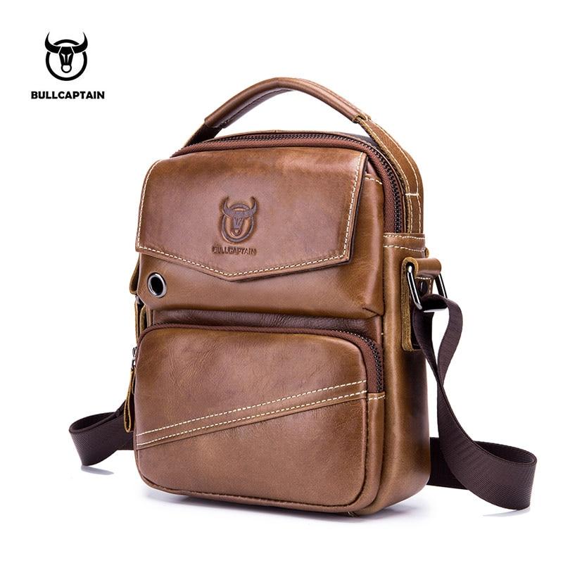 BULLCAPTAIN 2018 Brand Leather Men Bag Casual Business Leather Mens Shoulder Messenger Bag Vintage Men's Crossbody Bag male bag цены