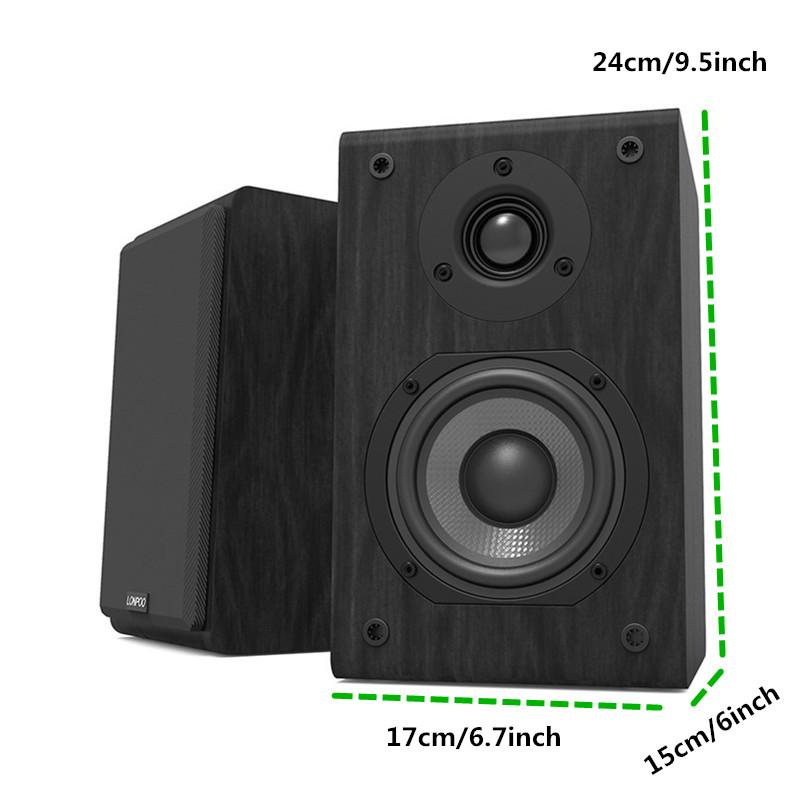 LONPOO Bookshelf Speaker Passive Pair 2-Way 75W *2 Classic Wooden Loudspeaker with 4-inch Carbon Fiber Woofer Tweeter Speaker 10