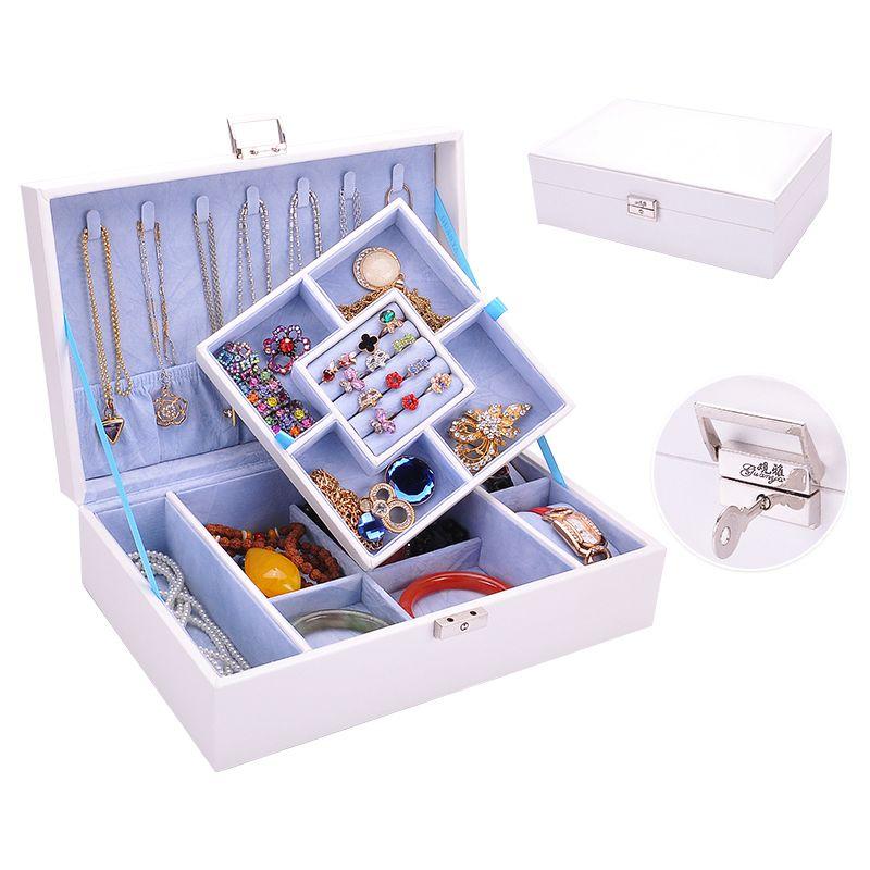 Y blanc détachable double couche princesse Dressing cercueil collier cintres Portable bijoux boîte en cuir boîte à bijoux organisateur