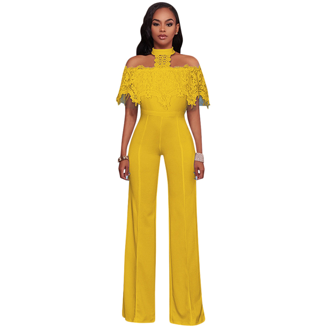 8a4e10f1f587 Elegant Wide Leg Jumpsuits Halter Off The Shoulder Lace Ruffles Jumpsuit  Work Party Overalls Casual Long Rompers Womens Jumpsuit