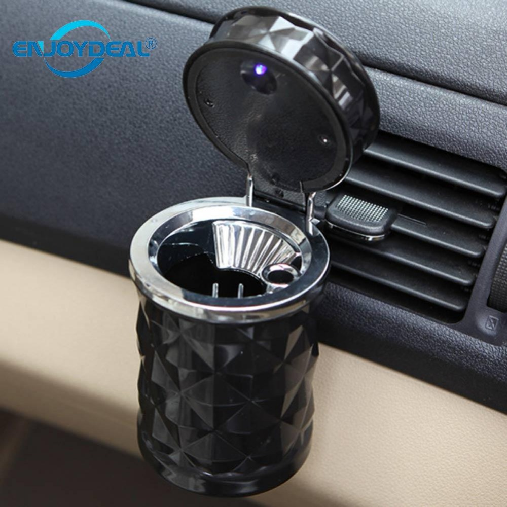 1Pc Black Plastic Easy Clean Universal Mini Ash Bin Car Ashtray Illuminated Led Light Novelty Lighting