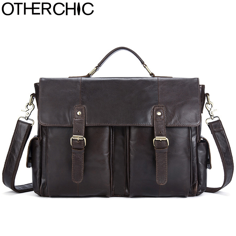 OTHERCHIC Vintage Portfolio Luxury Briefcase Genuine Leather 14