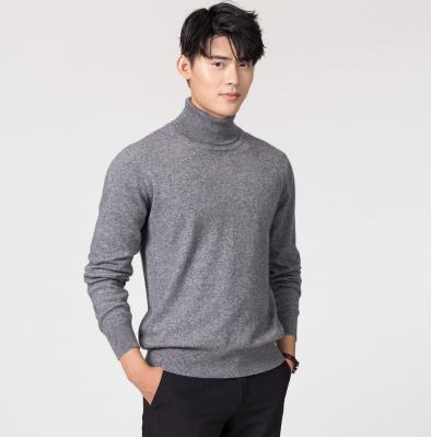 Кашемировая водолазка мужская, мужской свитер, одежда для осени и зимы, свитера цвета Омбре, пуловер для мужчин с высоким воротником - Цвет: Темно-серый