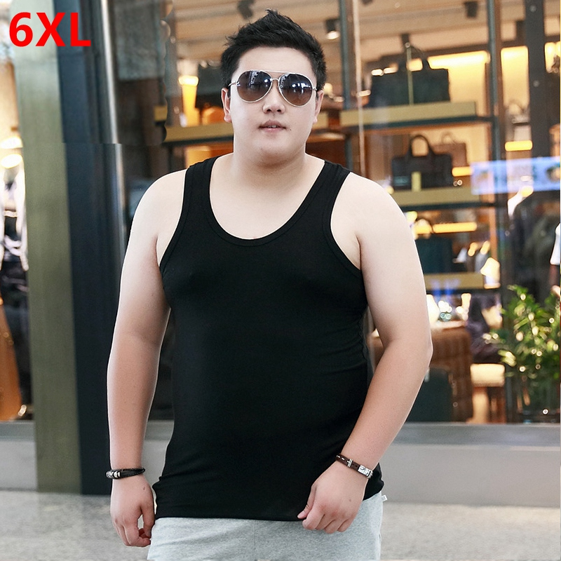 Men's Large Size High-Stretch Sleeveless   Tops   Plus Fertilizer Oversized   Tank     Tops   plus size Vest