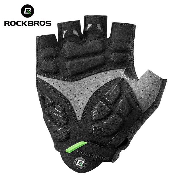 Rockbros luvas de ciclismo metade do dedo gel luvas de bicicleta mtb da motocicleta anti-choque respirável elástico masculino luvas esportivas roupas 2