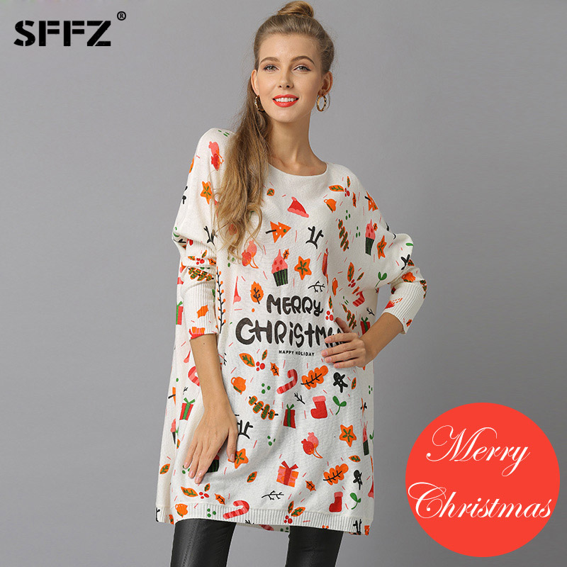 SFFZ New Christmas Woman Knitted Sweaters Pullovers Casual Print Sueter Mujer Wool Sweater Navidad Pullover Pull Femme natal