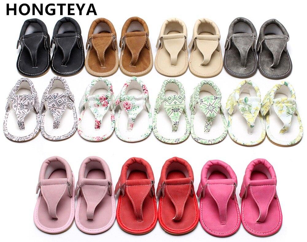 HONGTEYA Sommerfødt T-bar sandaler 10 farver Hot sale Pu læder Baby moccasiner Gummi sål dusk Baby drenge piger sandaler