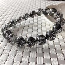 Genuine Natural Black Rutilated Quartz Crystal Clear Round Beads 11.5mm Wealthy Stone Bracelet For Women Men From Brazil AAAAA lii ji natural stone black onyx agate clear quartz crystal with jade clasp bracelet for women party