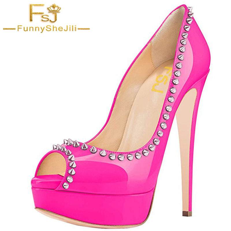 FSJ 2018 Rivet Summer Violet Patent Leather Peep Toe Shoes Ladies Platform High Heels Pumps Women Party Evening attractive Shoes women shoes pumps 2016 spring and summer new patent leather bow peep toe women sandals platform high heels shoes zapatos mujer