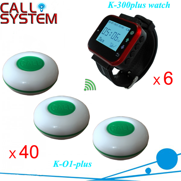 Bistro Digital Calling Waiter System 6pcs watch clock 40pcs table button for guest wireless sound system 2 receivers 60 buzzers wireless restaurant buzzer caller table call calling button waiter pager system