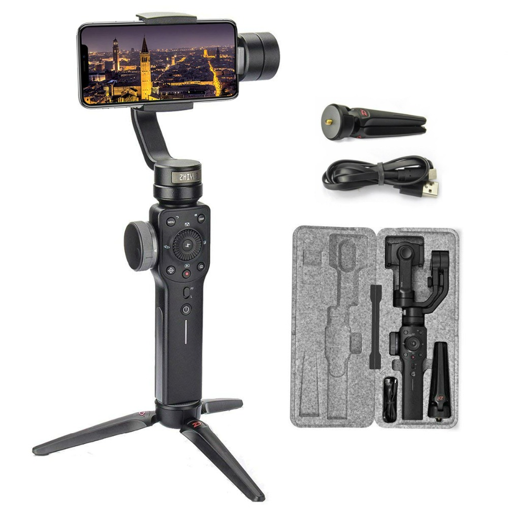 Zhiyun Smooth 4 3-Axis Handheld Gimbal Stabilizer For Smartphone iPhone Xs Max 8 7 Plus Samsung S9,S8,Gopro Hero 7,Phonego Mode funsnap capture 3 axis handheld phone gimbal stabilizer for iphone x 8 7 plus samsung s8 gopro hero 6 5 yi sjam eken h9