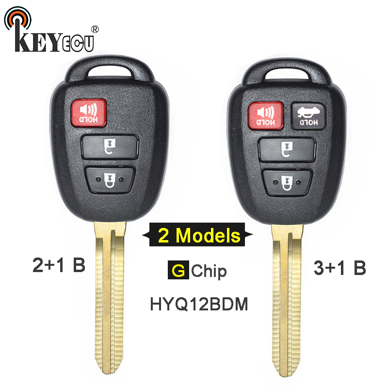 KEYECU FCC: HYQ12BDM G Chip Replacement 2+1 3/ 3+1 4 Button Remote Key Fob for Toyota Prius C Carmy TOY43 Blade
