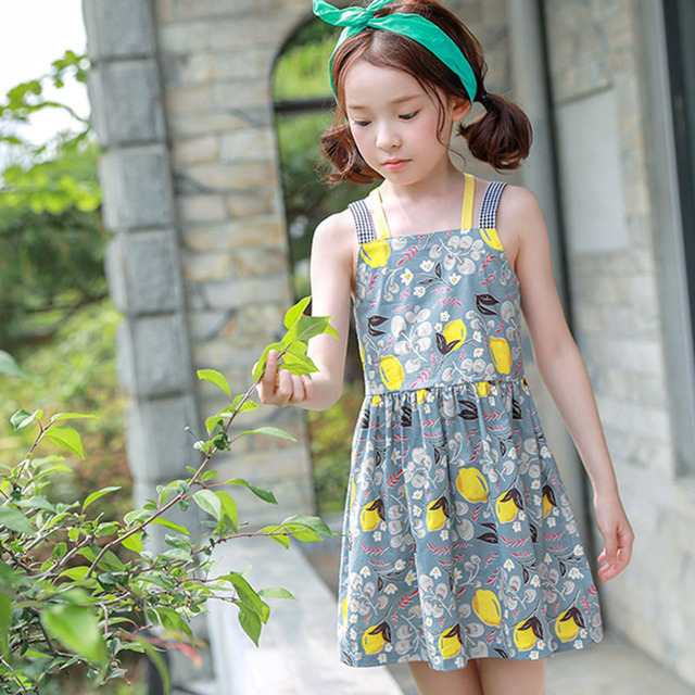 6e9adf5570c beautiful holiday clothes summer baby teenage girls princess dress 2018 new  lemon floral printed girls dress costume 7 9 13 14 T