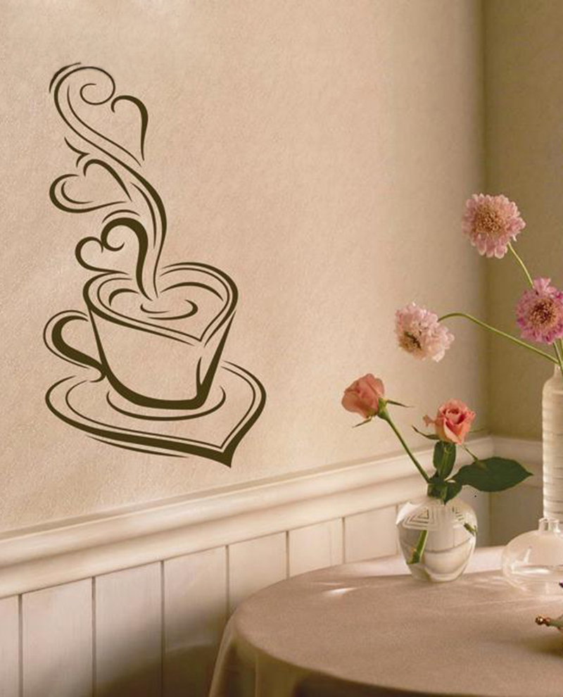 Dekorative Küche Kaffee kunst wandaufkleber-Lecker kaffee Tassen Cafe  wandmalerei dekorationen Vinyl Wandtattoos(China