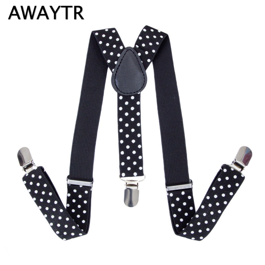 AWAYTR Dot Print Suspenders for Baby Child Braces with 3 Clips-on Fashion Kids Clothing Accessories Red Black Suspensorio