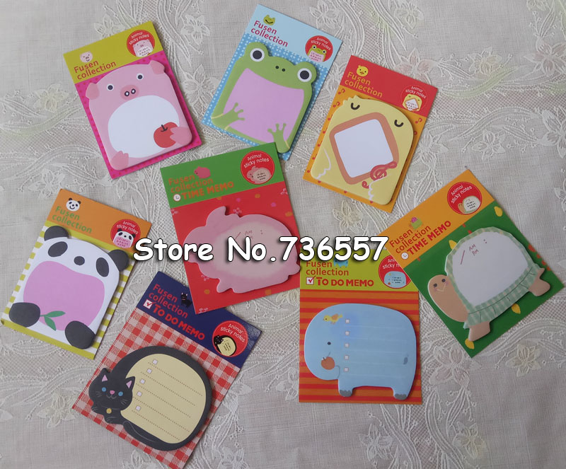 80pcs Cute Cartoon Memo Pads animal post sticker Kawaii Zoo animals sticky notes stationery School Writing Pad