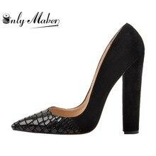 Onlymaker Classic Women's Heels Pointed Toe Block Chunky heel Slip On Shoes Wedding Office Pumps Faux Suede Black big Size 15 цена в Москве и Питере