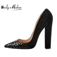 Onlymaker Classic Women's Heels Pointed Toe Block Chunky heel Slip On Shoes Wedding Office Pumps Faux Suede Black big Size 15
