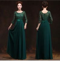 2018 New Arrival O neck A line Floor Length Long Chiffon Plus Size Mother Of The Bride Dresses With Lace Sleeves of Plus Size