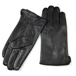 Image 2 - Guantes Leather Gloves Male Deerskin Fashion Stripes Style Wool Lining Spring And Autumn Warm Price Concessions Free Shipping