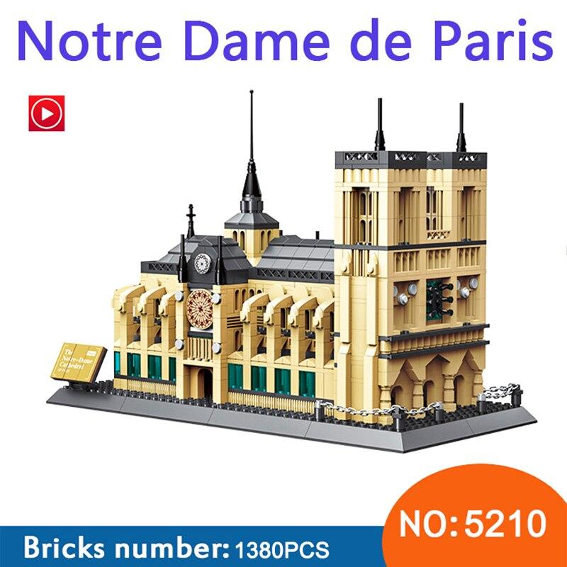 city LepinS Architecture NOTRE DAME CATHEDRAL of Paris Building Blocks Classic Landmark Model Bricks Toys For Children