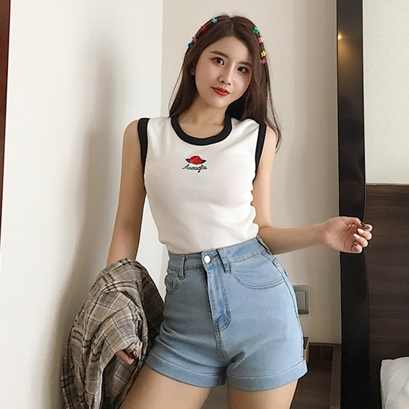 Summer Vintage Sleeveless Short Women T Shirt Chic Rose Letter Embroidery Women Tops Sweet Knitted Slim Girls T-shirt